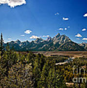 Light Rays On The Grand Tetons Poster