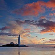 Lighthouse At Sunrise Poster