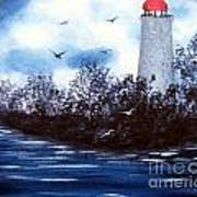 Lighthouse Blues Painterly Style Poster