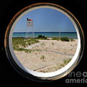 Lighthouse Window To Lake Poster