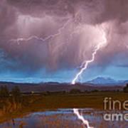 Lightning Striking Longs Peak Foothills 2 Poster