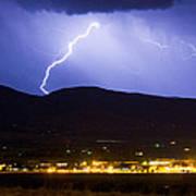 Lightning Striking Over Ibm Boulder Co 1 Poster