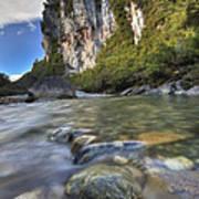 Limestone Cliffs And Fox River, Paparoa Poster