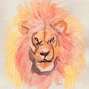 Lion Orange Poster
