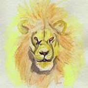 Lion Yellow Poster