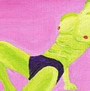 Little Green Man On Pink Poster
