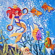 Little Mermaid In The Sea Poster by Janna Columbus