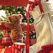 Little Teddy Bear Looking Through Chair Poster