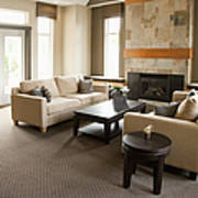 Living Room In An Upscale Home Poster