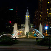 Logan Circle Fountain With City Hall At Night Poster by Bill Cannon