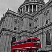 London Bus At St. Paul's Poster