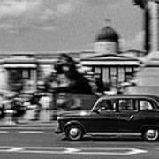 London Cab In Trafalgar Square Poster