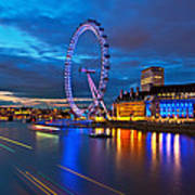 london Eye Nightscape Poster by Arthit Somsakul