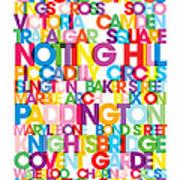 London Text Bus Blind Poster by Michael Tompsett