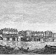 London: Waterfront, 1750. /nlondon Bridge And Dyers Wharf. Wood Engraving After A Painting By S. Scott, C1750 Poster