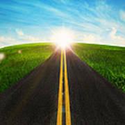Long Road In Beautiful Nature  Poster