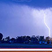 Looking East Lightning Strike Poster