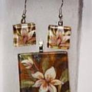 Lotus Flower Pendant And Earring Set Poster