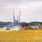 Low County Marsh View Shrimp Boats Poster