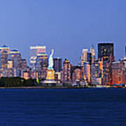 Lower Manhattan Skyline At Dusk Poster by Jeremy Woodhouse