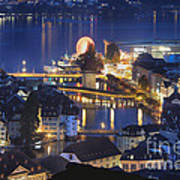 Lucerne At Night From Above Poster by George Oze