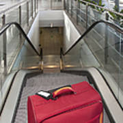 Luggage At The Top Of An Escalator Poster by Jaak Nilson