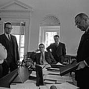 Lyndon Johnson With Former Kennedy Poster by Everett