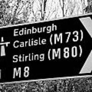M8 Motorway Sign In Glasgow Scotland Uk Poster