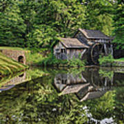 Mabry Mill And Pond With Reflection Poster