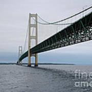 Mackinac Bridge From Water Poster