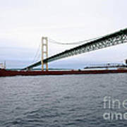 Mackinac Bridge With Ship Poster
