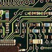 Macro View Of A Computer Motherboard Poster by Yali Shi