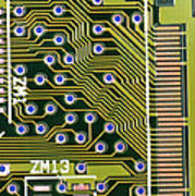 Macrophotograph Of Printed Circuit Board Poster by Dr Jeremy Burgess