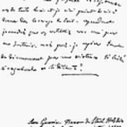 Madame De Stael Letter Poster