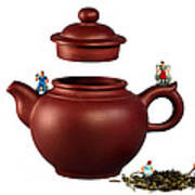 Making Green Tea On A Clay Teapot Poster by Paul Ge
