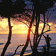 Man And Surfboard At Sunrise, Cabarete Poster