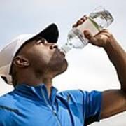 Man Drinking Bottled Water Poster