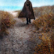 Man In Cape And Top Hat By The Sea Poster