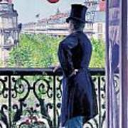Man On A Balcony On Boulevard Haussmann Poster