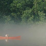 Man Paddling Canoe In Mist, Roanoke Poster