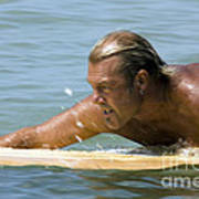 Man Paddling On Surfboard Poster