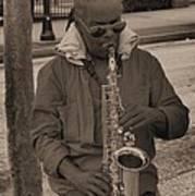 Man Playing His Saxophone Poster