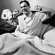Man Stretching In Bed, (b&w), Poster