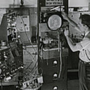 Man Testing Early Television Equipment Poster