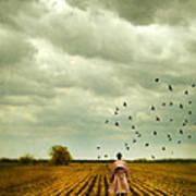 Man Walking In A Farm Field Poster
