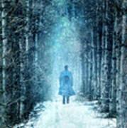 Man Walking Through Snowy Woods Poster