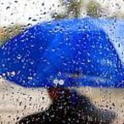 Man With Blue Umbrella Poster