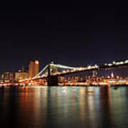 Manhattan Nightscape With Brooklyn Bridge Poster