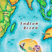 Map Of The Indian Ocean Poster by Jennifer Thermes