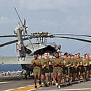 Marines And Sailors Run Aboard Uss Poster